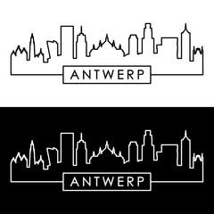 Acrylic Prints Antwerp Antwerp skyline. Linear style. Editable vector file.