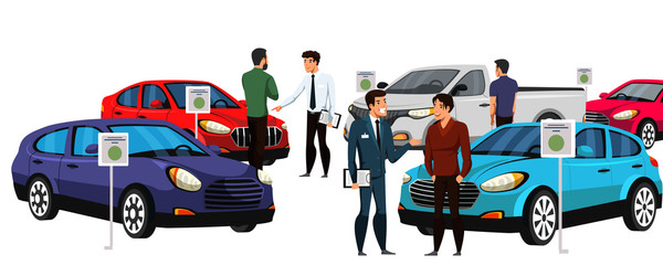 Tuinposter Cartoon cars Sellers and potential buyers group in car showroom