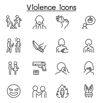 Violence, human trafficking, abuse, sexual harassment icon set in thin line style