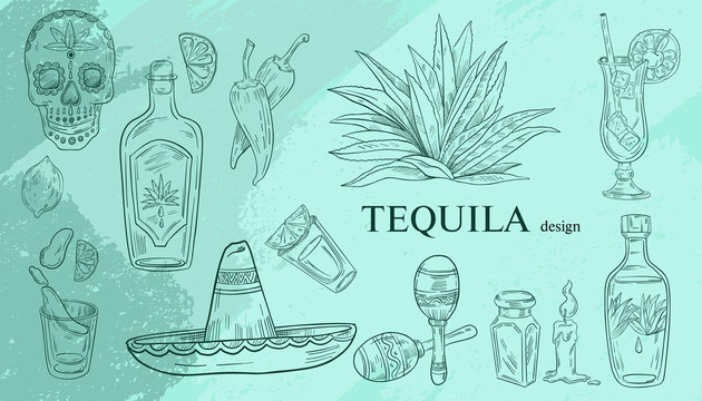Vector Mexican set of objects associated with this country: tequila bottles, shots, agave, sombrero, cocktails, maracas in engraving style on blue background.