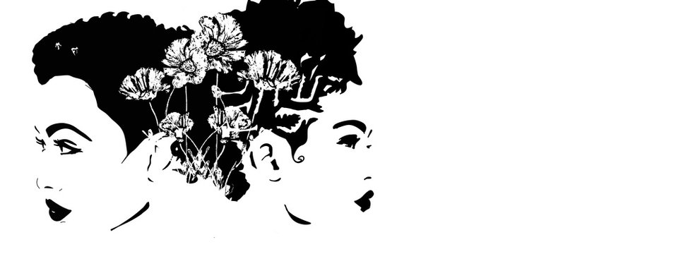 Asian or african woman with short afro hair and braids. Braided hair illustration. African queen