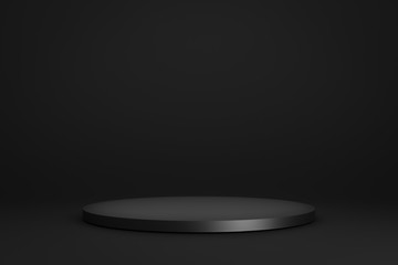 Black podium or pedestal display on dark background with cylinder stand concept. Blank product...