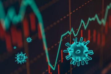 Obraz The coronavirus sinks the global stock exchanges. - fototapety do salonu