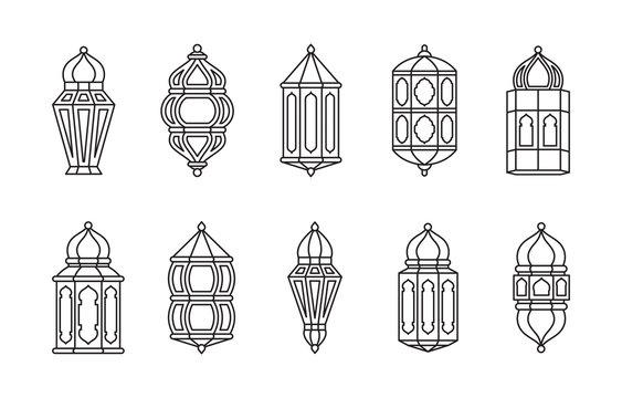 Line Islamic Arabic Lantern Symbol Icon Collection Set Isolated