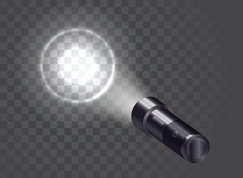 Pocket realistic flashlight illuminates the wall. Vector illustration.