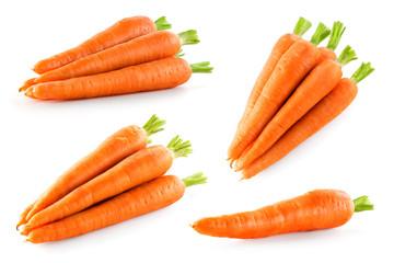 Fototapeta Carrot isolate. Carrots on white background. Carrot top view, side view. obraz