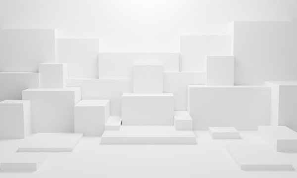 abstract white light on wall background texture with geometric shape. 3d render design for display product on website. Mockup with gray podium scene concept. Empty showcase for advertising and banner.