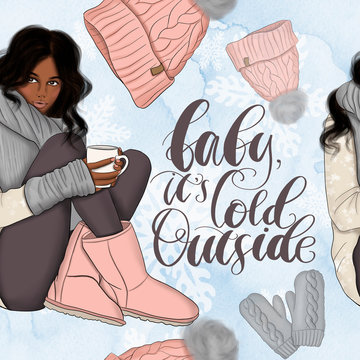 African American Girl Winter Scenes Background Hand Drawn Baby It's Cold Outside Illustration