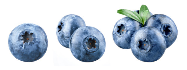 Deurstickers Macrofotografie Blueberry isolated. Blueberry on white. Bilberry. Bilberry on white background.