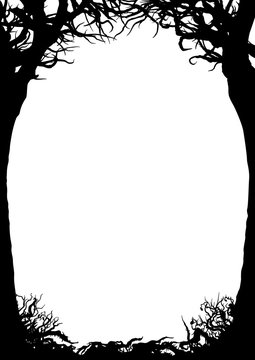 Trees silhouettes frame/ Illustration vertical frame with trees, shrubs, snags