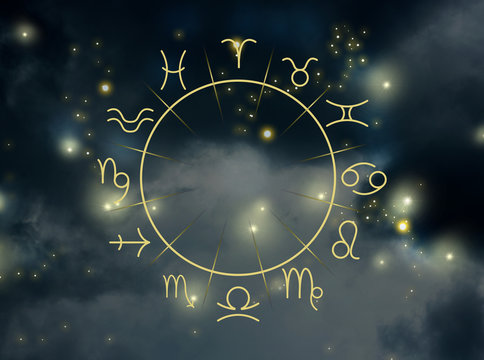 Illustration of night sky with stars and zodiac wheel