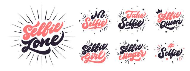 Fotorolgordijn Positive Typography Youth slogans collection on white background. Selfie phrases set
