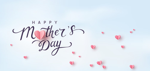 Mom greeting card. Vector pink love symbols in shape of heart and Happy Mother's Day calligraphy on blue sky background. .