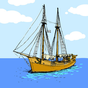 Vintage ship, sailboat in the sea. Hand drawn painted sketch. Stock vector illustration