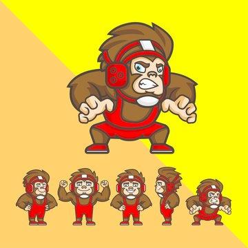 Set Of Cartoon Wrestler Monkey With Some Pose. Logo Mascot Character Illustration Vector