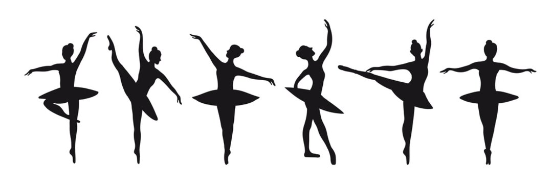 Set of six silhouettes of poses of ballerinas. Vector graphics for the design of posters, banners, advertising courses. Graceful black dancers on a white background isolated.