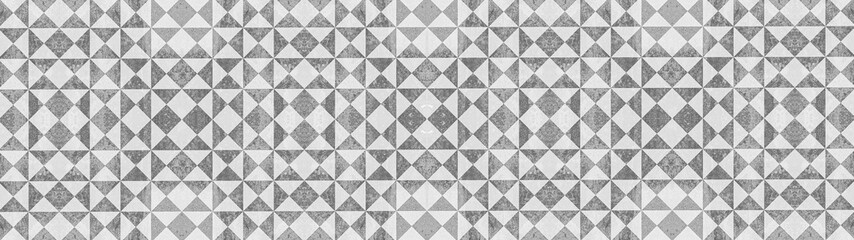 Foto auf Leinwand Steine Gray white traditional motif tiles texture background banner panorama - Vintage retro cement tile with triangular square pattern