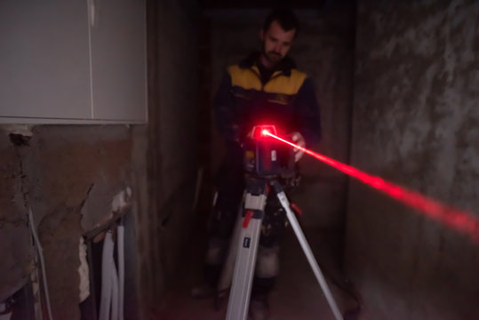 Laser equipment at a construction site