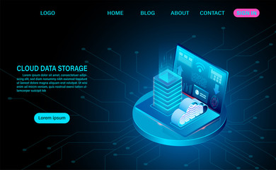 Cloud data storage and server room. server rack with cloud. online computing technology. isometric flat design vector illustration