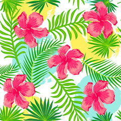 Tropical exotic palm leaves, hibiscus flowers with hand drawn style blots. Seamless pattern. Vector illustration.