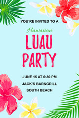 Jungle exotic flowers and palm leaves. Hawaiian Luau party invitation vector illustration. Place for text. Seasonal template for vacation, poster, banner, flyer.
