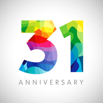 31 st anniversary numbers. 31 years old logotype. Bright congrats. Isolated abstract graphic web design template. Creative 1, 3 3D digits. Up to 31% percent off discount idea. Congratulation concept.