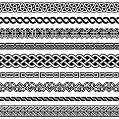 Irish Celtic vector semaless border pattern  set, braided frame designs for greeting cards, St Patrick's Day celebration