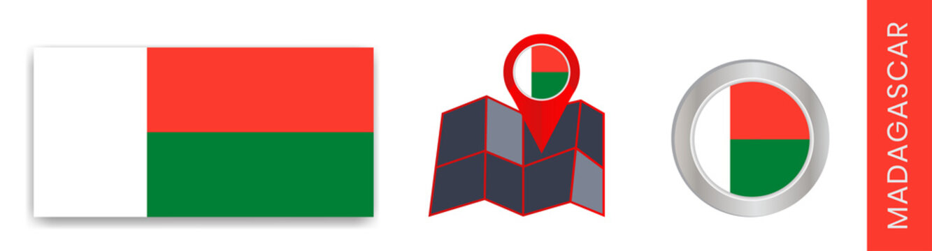 Madagascar's national flag collection is isolated in official colors and a map icon of Madagascar with a country flag.