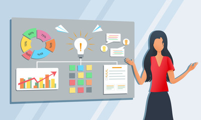 Vector modern illustration of business consultant give presentation of ideas for new startup project. Businesswoman, teacher or coach explaining information during workshop training seminar