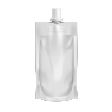 Pouch Sachet Bag With Spout Lid Stand Up On White