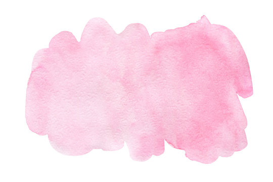 Pink splash watercolor hand drawn paper texture background business card with space for text or image, isolated