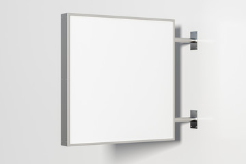 Square singboard or signage isolated on the white wall with blank white sign mock up. Side view. 3d illustration