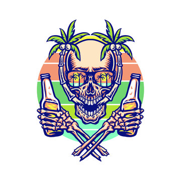 Skull summer beach t-shirt graphic design, hand drawn line with digital color, vector illustration