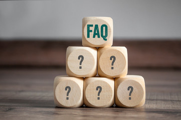 Cubes and dice with acronym faq frequently asked questions