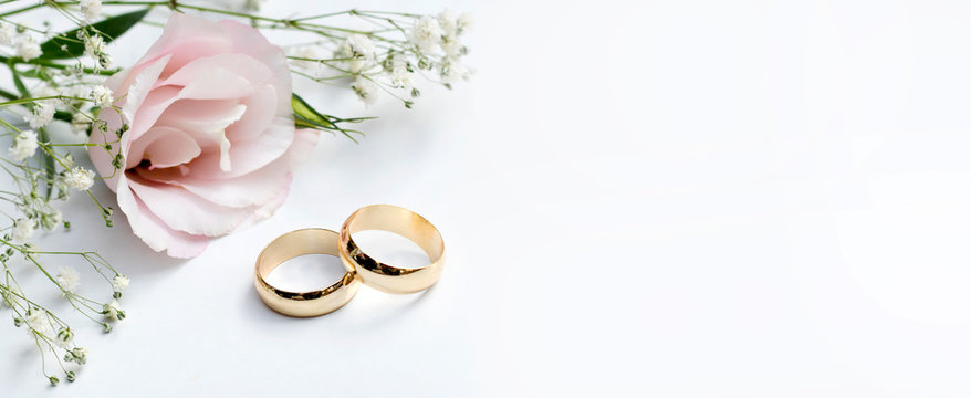 Pink flowers and two golden wedding rings on white background.
