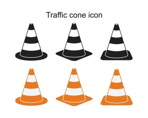Traffic cone icon symbol Flat vector illustration for graphic and web design.