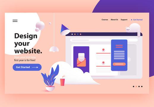 Website Header Illustration Layout with 3D Elements