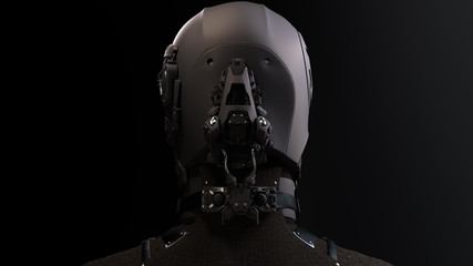 3D composite illustration of Cyborg with a skull face pilot, aviator with multiple optical elements, different lenses to capture all in details. 3D rendering. Art