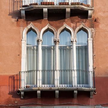 Characteristic windows of a Venetian palace