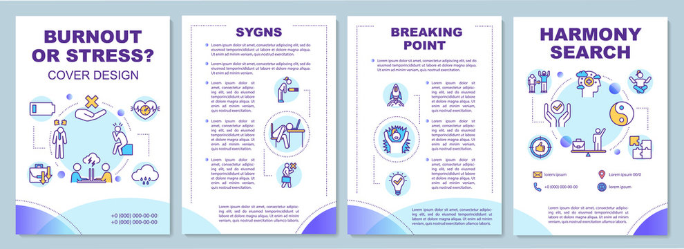 Burnout, stress brochure template. Signs. Breaking point. Harmony search. Flyer, booklet, leaflet print, cover design with linear icon. Vector layout for magazines, annual reports, advertising posters