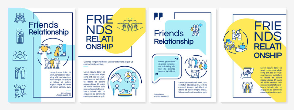 Friends relationship brochure template. Friendship core values. Flyer, booklet, leaflet print, cover design with linear icons. Vector layouts for magazines, annual reports, advertising posters