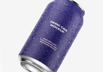 Isolated Aluminum Drink Can Mockup