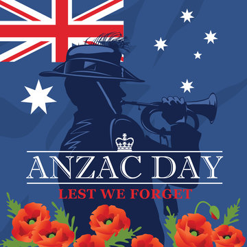 Silhouette of a trumpet soldier on the background of the Australian flag and red poppies. Anzac Day.