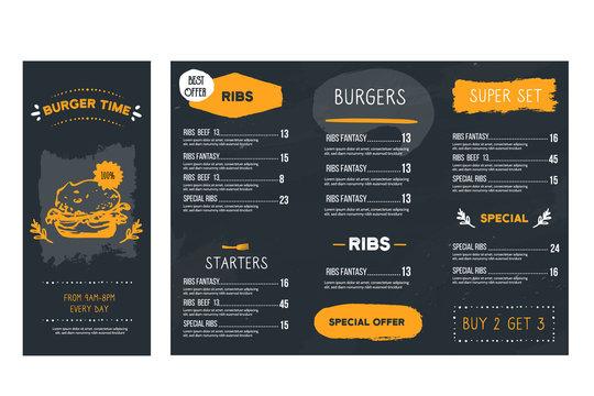 Vintage hand drawn fast food menu restaurant, Burger template, american hamburger illustration, brochure poster