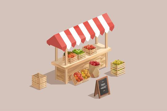 farm market, low poly isometric vector illustration