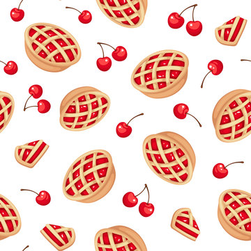 Vector seamless pattern with cherry pies and cherries on white.