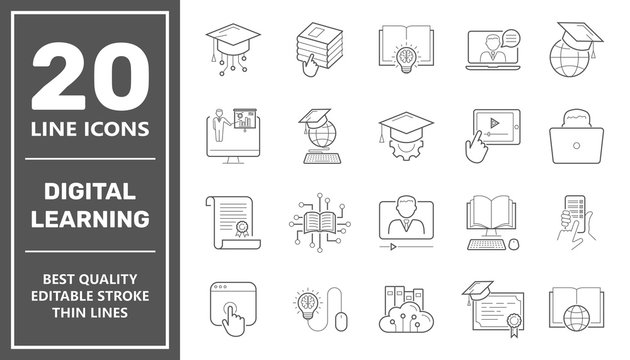 E-learning, digital learning. online education elements thin line web icon set. Outline icons collection. Simple vector illustration. Editable Stroke
