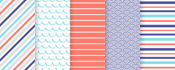 Marine seamless pattern. Vector. Nautical sea backgrounds with stripes and waves. Set blue summer prints. Geometric texture for baby shower, scrapbooking. Color illustration