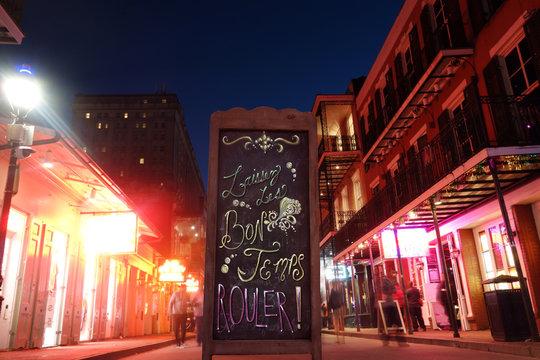 Bourbon Street in New Orleans French Quarter