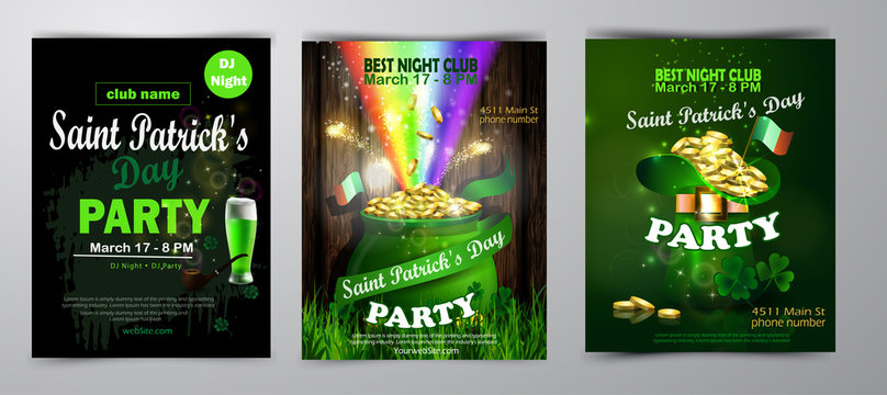 St. Patrick's Day poster set Vector illustration